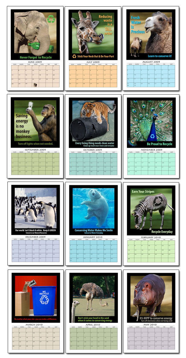 Calendar Monthly Ideas : Ai ac animal themed month calendar marketing products