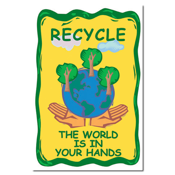 AI-rp154 - Recycle The World Is IN Your Hands Recycling Poster