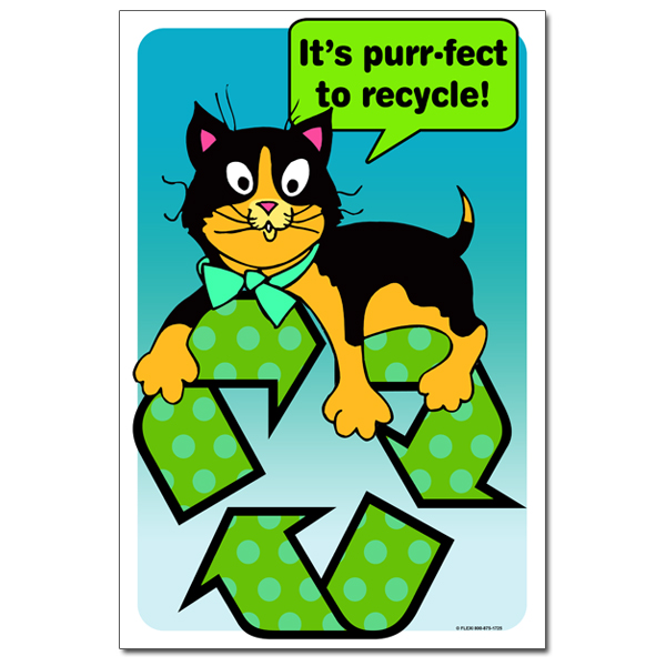 AI-rp329 - It's Purr-fect to Recycle Recycling Poster