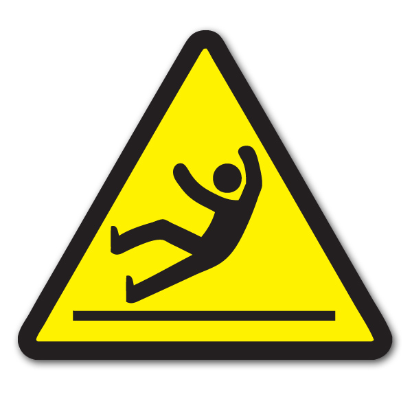 AI-sdfall014-02 - 1 Color Slip and Fall Vinyl Safety Decal