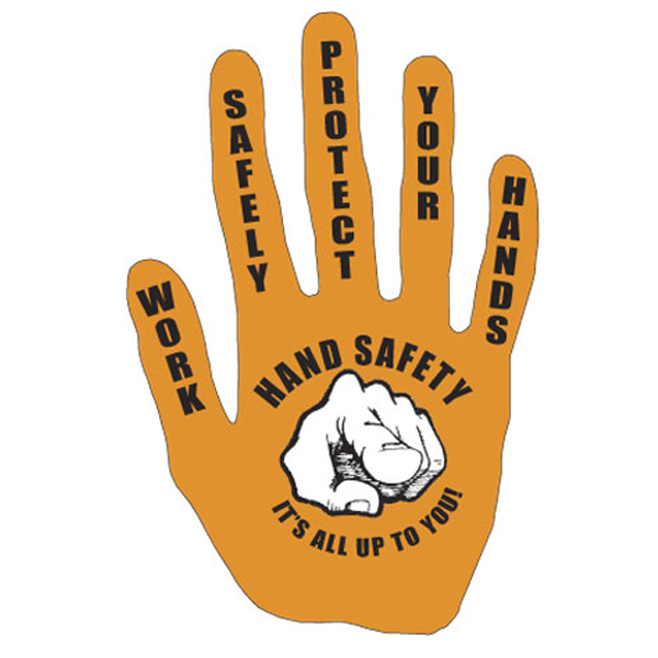 Ai sdhand003 2 color die cut work safely protect your hands hand safety hand print decal orange and black printed on white vinyl 3 3 4 x 7 safety