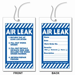 LT200 - Energy Conservation AIR-LEAK Tags, Leak prevention, air leak prevention, water leak prevention, air and water waste, high pressure air savings, energy conservation for manufacturing facilities