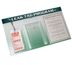 LTB101-02 - Energy Conservation Leak Tag Board, Leak prevention, air leak prevention, water leak prevention, air and water waste, high pressure air savings, energy conservation for manufacturing facilities