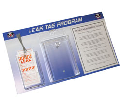 LTB101 - Energy Conservation Leak Tag Board, Leak prevention, air leak prevention, water leak prevention, air and water waste, high pressure air savings, energy conservation for manufacturing facilities