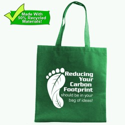 PRG001-04 - Reduce Your Carbon Footprint Medium Tote Bag, Recycling Promo Gifts, Recycling Gifts for Tradeshows, recycling ad specialties
