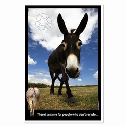 AI-PRG0011-DR1  Donkey Recycling Poster