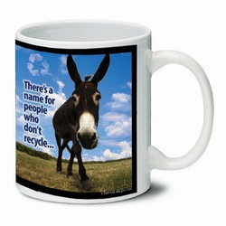 AI-PRG0011-DR5 Donkey Ceramic Mug 11oz., Recycling Incentive, Recycling Promotional Ideas, Recycling Promo Gifts, Recycling Gifts for Tradeshows, recycling ad specialties