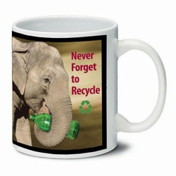 AI-PRG0011-ER5 Elephant Ceramic Mug 11oz., Recycling Incentive, Recycling Promotional Ideas, Recycling Promo Gifts, Recycling Gifts for Tradeshows, recycling ad specialties