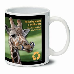 AI-PRG0011-GR5 Giraffe Ceramic Mug 11oz., Recycling Incentive, Recycling Promotional Ideas, Recycling Promo Gifts, Recycling Gifts for Tradeshows, recycling ad specialties