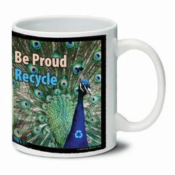 AI-PRG0011-PR5 Peacock Ceramic Mug 11oz., Recycling Incentive, Recycling Promotional Ideas, Recycling Promo Gifts, Recycling Gifts for Tradeshows, recycling ad specialties