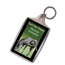 Zebra Keychain, Animal Keychain, Recycling Incentive, Recycling Promotional Ideas, Recycling Promo Gifts, Recycling Gifts for Tradeshows, recycling ad specialties