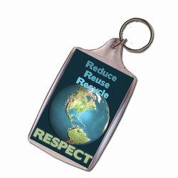 PRG002-03 - Reduce Reuse Recycle Respect Keychain, Recycling Incentive, Recycling Promotional Ideas, Recycling Promo Gifts, Recycling Gifts for Tradeshows, recycling ad specialties