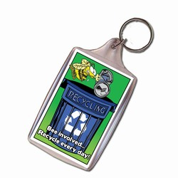 AI-PRG004-02 - Bee a Busy Recycler Keychain, Recycling Incentive, Recycling Promotional Ideas, Recycling Promo Gifts, Recycling Gifts for Tradeshows, recycling ad specialties