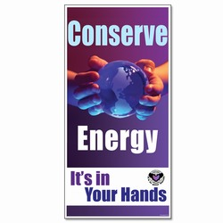 eban004 - Energy Conservation Banner, Leak prevention, air leak prevention, water leak prevention, air and water waste, high pressure air savings, energy conservation for manufacturing facilities