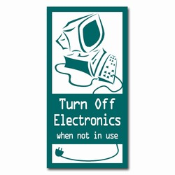 ed109 - Energy Conservation 2&quot;x4&quot; Decal, Turn Me Off Decals&#8218; 1 Square Decals,Energy Conservation Stickers, Energy Stickers, Energy Savings Stickers, Butt-cut Energy Labels, Vinyl Energy Decals, Vinyl Energy Labels, Vinyl Energy Stickers