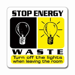 ed097 - Energy Conservation 3&quot; Square Decal, Turn Me Off Decals&#8218; 1 Square Decals,Energy Conservation Stickers, Energy Stickers, Energy Savings Stickers, Butt-cut Energy Labels, Vinyl Energy Decals, Vinyl Energy Labels, Vinyl Energy Stickers