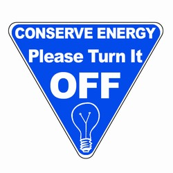 ed102 - Energy Conservation Vinyl Decal 2.5&quot;inches, Turn Me Off Decals&#8218; 1 Square Decals,Energy Conservation Stickers, Energy Stickers, Energy Savings Stickers, Butt-cut Energy Labels, Vinyl Energy Decals, Vinyl Energy Labels, Vinyl Energy Stickers