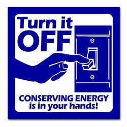 "ed110 - Energy Conservation 4"" Square Decal, Turn Me Off Decals� 1 Square Decals,Energy Conservation Stickers, Energy Stickers, Energy Savings Stickers, Butt-cut Energy Labels, Vinyl Energy Decals, Vinyl Energy Labels, Vinyl Energy Stickers"