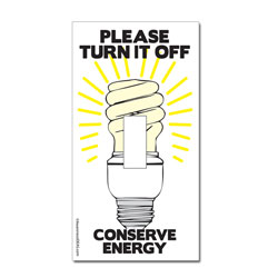 ed112 - Energy Conservation Lightswitch Decal - 2 1/4&quot; x 4 1/4&quot;