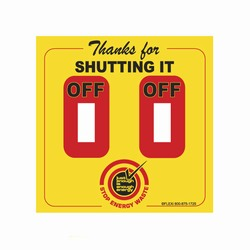 "AI-edltsw203-05-DBL - 2 Color Thanks for Shutting It Off Stop Energy Waste Energy Conservation Double Lightswitch Decal - 4 1/4"" x 4 1/4"""