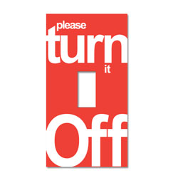 AI-edltsw203-21 - &quot;Please Turn it Off&quot; one color decal - 2 1/4&quot; x 4 1/4&quot;