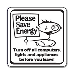 ed098 - Energy Conservation 2.5&quot; Square Decal, Turn Me Off Decals&#8218; 1 Square Decals,Energy Conservation Stickers, Energy Stickers, Energy Savings Stickers, Energy Labels, Vinyl Energy Decals, Vinyl Energy Labels, Vinyl Energy Stickers
