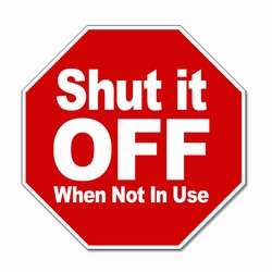 "ed101 - Energy Conservation Vinyl Decal 3.5""inches, Turn Me Off Decals' 1 Square Decals,Energy Conservation Stickers, Energy Stickers, Energy Savings Stickers, Butt-cut Energy Labels, Vinyl Energy Decals, Vinyl Energy Labels, Vinyl Energy Stickers"
