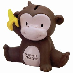 eh001-02 - Energy Conservation Monkey Bank 6 1/4&quot; x 6&quot;, Energy Conservation Handouts, Energy Conservation Gift, Energy Conservation Incentive
