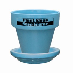 "eh040-01 - Energy 5-1/2"" Flower Pot With Saucer, Energy Conservation Handouts, Energy Conservation Gift, Energy Conservation Incentive"