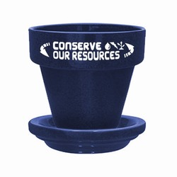 "eh040-03 - Energy 5-1/2"" Flower Pot With Saucer, Energy Conservation Handouts, Energy Conservation Gift, Energy Conservation Incentive"