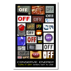 AI-ep416 - &quot;Turn it OFF&quot; Energy Conservation Poster, Energy Conservation Plackard, Energy Conservation Sign, Save Energy Sign, Energy Waste Sign, Energy Savings Sign Energy Conservation Bulletin, Energy Conservation Posters