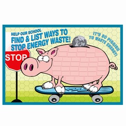 es400 - Energy Pig School Sign, Energy Conservation Plackard, Energy Conservation Sign, Save Energy Sign, Energy Waste Sign, Energy Savings Sign Energy Conservation Bulletin, Energy Conservation Posters