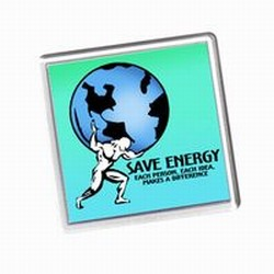AI-prg0010-03- Energy Handout Coaster, Energy Conservation Coaster with Atlas Saving the World. Energy Conservation Handouts, Energy Conservation Gift, Energy Conservation Incentive