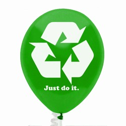 "AI-prg003-02 - Just Do It Recycling 9"" Balloon, Recycling Incentive, Recycling Promotional Ideas, Recycling Promo Gifts, Recycling Gifts for Tradeshows, recycling ad specialties"