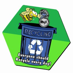 "AI-prg004-05 -  Bee a Busy Recycler 8"" Hexagon MOUSEPAD, Recycling Incentive, Recycling Promotional Ideas, Recycling Promo Gifts, Recycling Gifts for Tradeshows, recycling ad specialties"