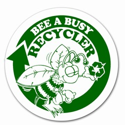 AI-prg004-06 - Bee a Busy Recycler 3&quot;d Decal w/green imprint, Butt-cut Recycling Labels, Vinyl Recycling Decals, Vinyl Recycling Labels, Vinyl Recycling Stickers