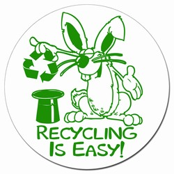 "AI-prg005-02 - Rabbit Recycling 3""d Decal , Butt-cut Recycling Labels, Vinyl Recycling Decals, Vinyl Recycling Labels, Vinyl Recycling Stickers"
