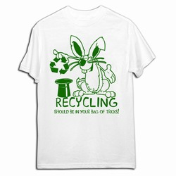 AI-prg005-03 - Rabbit Recycling T-shirt, Recycling Incentive, Recycling Promotional Ideas, Recycling Promo Gifts, Recycling Gifts for Tradeshows, recycling ad specialties