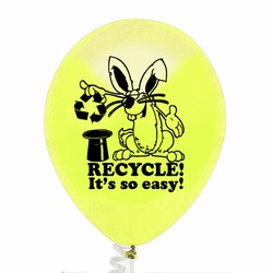 AI-prg005-05 - Rabbit Recycling 9&quot; Balloon, Recycling Incentive, Recycling Promotional Ideas, Recycling Promo Gifts, Recycling Gifts for Tradeshows, recycling ad specialties