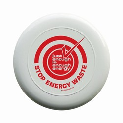 "AI-prg006-02 - Just Enough Energy 9"" Frisbee Flyer, Recycling Incentive, Recycling Promotional Ideas, Recycling Promo Gifts, Recycling Gifts for Tradeshows, recycling ad specialties"