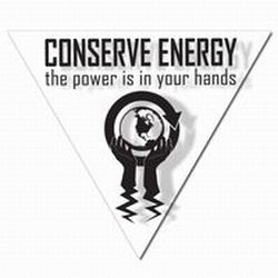 AI-prg007-01 - Power Is In Your Hands Energy Decal 2&quot; Triangle&#8218; 1 Square Decals,Energy Conservation Stickers, Energy Stickers, Energy Savings Stickers, Butt-cut Energy Labels, Vinyl Energy Decals, Vinyl Energy Labels, Vinyl Energy Stickers