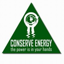 "AI-prg007-02 - Power Is In Your Hands Energy Decal 2"" Triangle, 1 Square Decals,Energy Conservation Stickers, Energy Stickers, Energy Savings Stickers, Butt-cut Energy Labels, Vinyl Energy Decals, Vinyl Energy Labels, Vinyl Energy Stickers"