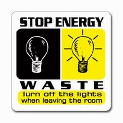 "AI-prg008-03- Stop Energy Waste  3"" Square Decal, Turn Me Off Decals' 1 Square Decals,Energy Conservation Stickers, Energy Stickers, Energy Savings Stickers, Butt-cut Energy Labels, Vinyl Energy Decals, Vinyl Energy Labels, Vinyl Energy Stickers"
