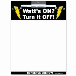 AI-prg009-05 - Energy Conservation Wipe-Off MEMO BOARD 8.5x11, Energy Conservation Handouts, Energy Conservation Gift, Energy Conservation Incentive