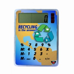 AI-prg012-04 - Happy Recycle Calculator Handout, Recycling Incentive, Recycling Promotional Ideas, Recycling Promo Gifts, Recycling Gifts for Tradeshows, recycling ad specialties