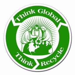 """AI-prg013-02 - Recycling Decal 5"""" CLEAR, Recycling Stickers, Butt-cut Recycling Labels, Vinyl Recycling Decals, Vinyl Recycling Labels, Vinyl Recycling Stickers"""
