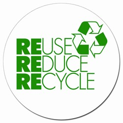 """AI-prg014-02 - Recycling Decal 5"""" CLEAR, Recycling Stickers, Butt-cut Recycling Labels, Vinyl Recycling Decals, Vinyl Recycling Labels, Vinyl Recycling Stickers"""