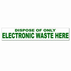 rd015 - Recycling Decal, Green on white, 2.5&quot; x 14&quot; ELECTRONIC WASTE ONLY, Butt-cut Recycling Labels, Vinyl Recycling Decals, Vinyl Recycling Labels, Vinyl Recycling Stickers