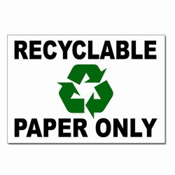 "rd016 - Recycling Decal, 5"" x 7"" PAPER ONLY, Butt-cut Recycling Labels, Vinyl Recycling Decals, Vinyl Recycling Labels, Vinyl Recycling Stickers"