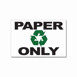 "rd016-02 - Recycling Decal, 6"" x 4"" PAPER ONLY, Butt-cut Recycling Labels, Vinyl Recycling Decals, Vinyl Recycling Labels, Vinyl Recycling Stickers"